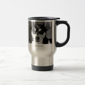 Rata Terrier, blanco y negro, taza