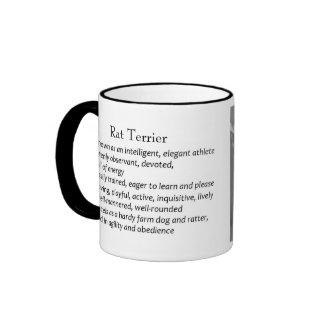Rata Terrier, blanco y negro, taza de la raza del