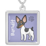 Rata Terrier del dibujo animado/fox terrier de jug Pendientes Personalizados