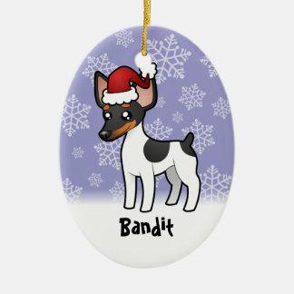 Rata Terrier del navidad/fox terrier de juguete Adorno Navideño Ovalado De Cerámica