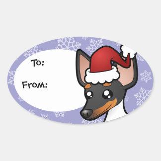 Rata Terrier del navidad/fox terrier de juguete Pegatina Ovalada