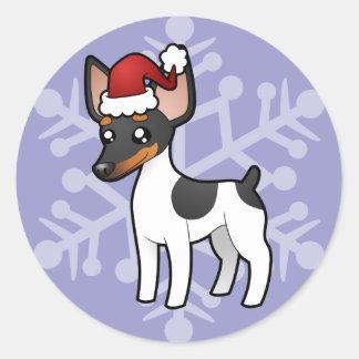 Rata Terrier del navidad/fox terrier de juguete Pegatina Redonda