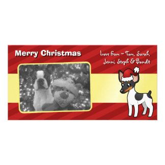 Rata Terrier del navidad/fox terrier de juguete Tarjeta Fotografica