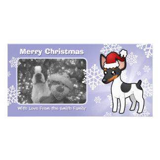 Rata Terrier del navidad/fox terrier de juguete Tarjetas Fotograficas