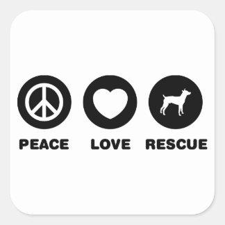 Rata Terrier Pegatina Cuadradas Personalizada