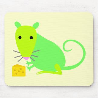 Rata verde con queso tapete de raton