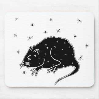 ¡Rata y moscas ¡Eeuuie ¡Diversión para alguno Tapetes De Ratón