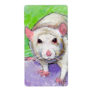 Ratas coloridas del blanco del arte del mascota de etiqueta de envío
