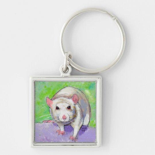 Ratas coloridas del blanco del arte del mascota de llavero cuadrado plateado