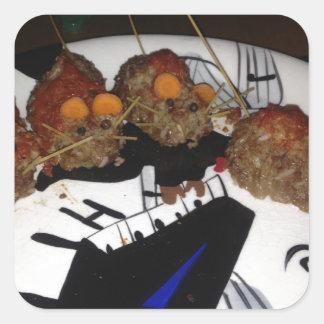 Ratas de la hamburguesa calcomania cuadradas personalizada