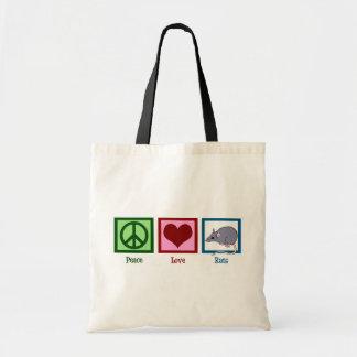 Ratas del amor de la paz bolsa tela barata