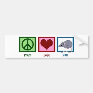 Ratas del amor de la paz pegatina para auto
