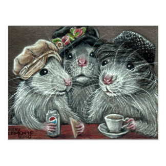Ratas en gorras que comen la postal del almuerzo