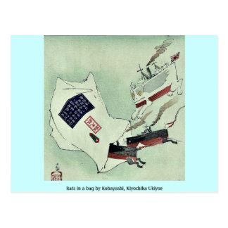 Ratas en un bolso por Kobayashi, Kiyochika Ukiyoe Postales