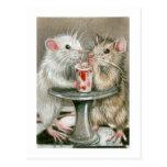 Ratas en una postal de la fecha