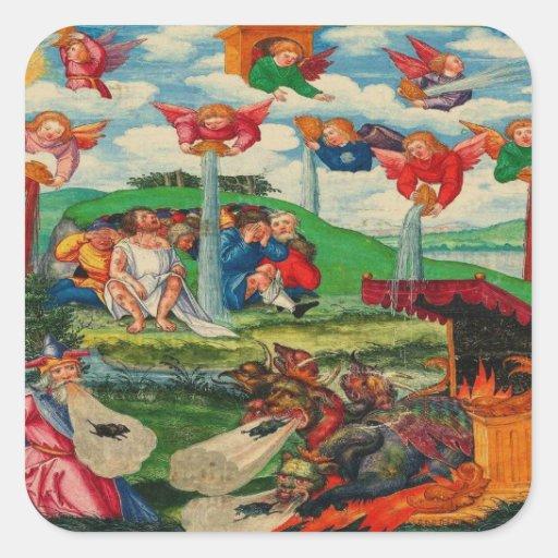Ratas medievales y ángeles de la plaga del kitsch calcomanía cuadradase