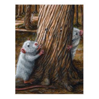 Ratas por la postal vieja del escondite del árbol