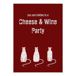 Ratas Rojo-Observadas queso y invitación del fiest