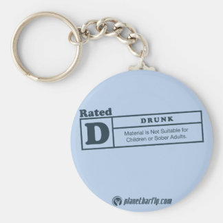 rated-d for drunk basic round button keychain
