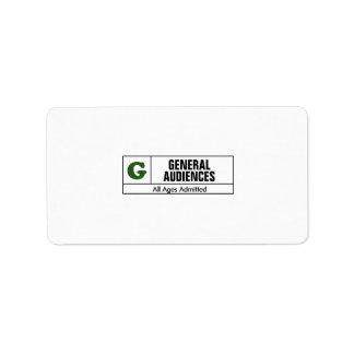 Rated G Custom Address Labels