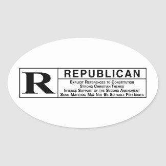 Rated R Oval Sticker
