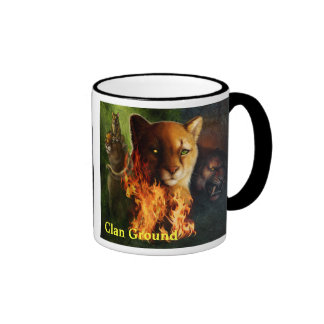 Ratha and her creature, with titles coffee mugs