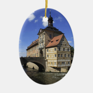 Rathaus de Bamberg, Alemania Adorno Navideño Ovalado De Cerámica