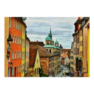 Rathausplatz and the old town hall  in Nuremberg Poster