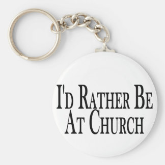 Rather Be At Church Basic Round Button Keychain
