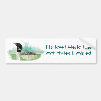 Rather be at the Lake with Watercolor Loon Car Bumper Sticker