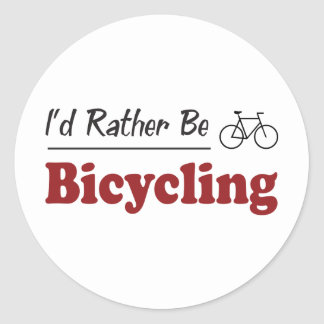 Rather Be Bicycling Round Stickers