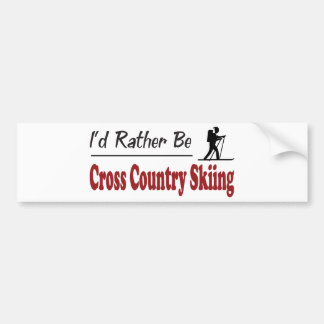 Rather Be Cross Country Skiing Car Bumper Sticker