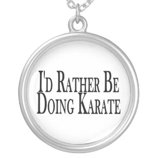 Rather Be Doing Karate Round Pendant Necklace