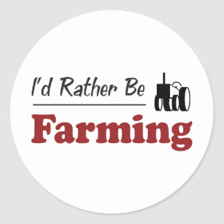 Rather Be Farming Classic Round Sticker
