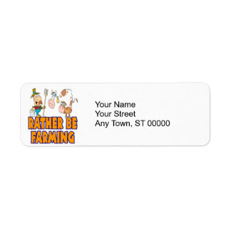 rather be farming cute cartoon farmer and cows label