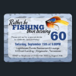 """Rather Be Fishing Custom Birthday Party Invitation<br><div class=""""desc"""">Humorous birthday styling for the man who loves to fish! Celebrate that special guy&#39;s big day with funny &quot;rather be fishing&quot; sentiments! Perfect for a birthday dinner or family get-together. Easy customization! Simply replace the template text with your own details. Click the &quot;Customize It&quot; button to change fonts, add additional...</div>"""