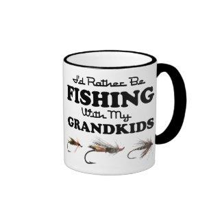 Rather Be Fishing Grandkids Ringer Coffee Mug