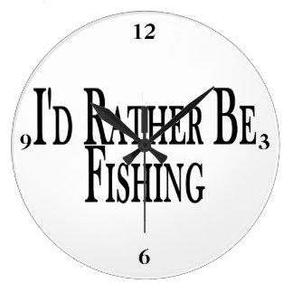 Rather Be Fishing Large Clock