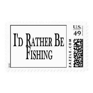 Rather Be Fishing Postage Stamp