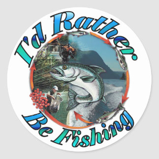 Rather be fishing round stickers