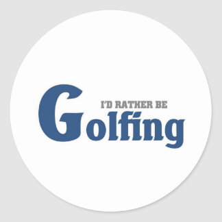 Rather be golfing classic round sticker
