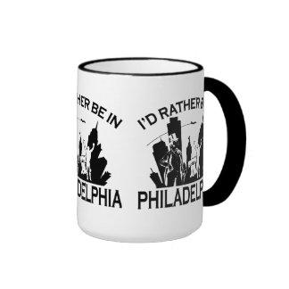 Rather be in Philadelphia 15oz Black Ringer Mug