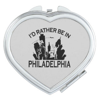 Rather be in Philadelphia Heart Compact Mirror