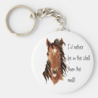 Rather be In the Stall than Mall Horse Humor Basic Round Button Keychain