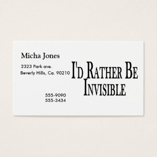 Rather Be Invisible Business Card