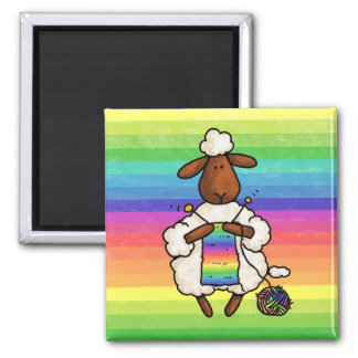 rather be knitting 2 inch square magnet