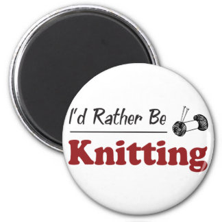 Rather Be Knitting 2 Inch Round Magnet