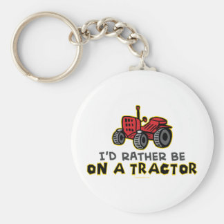 Rather Be On A Tractor Basic Round Button Keychain