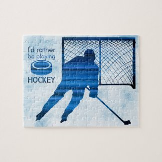Rather be playing - blue hockey player jigsaw puzzle