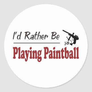 Rather Be Playing Paintball Round Stickers